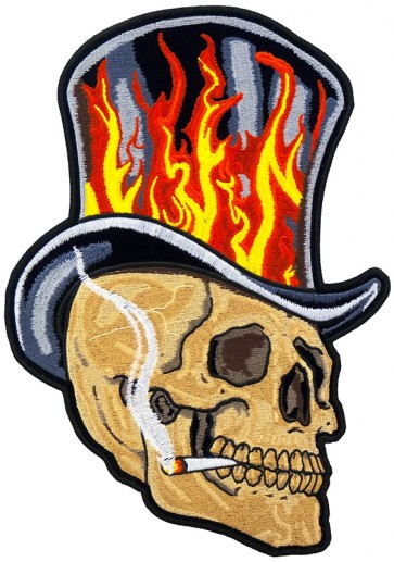 Skull With Flaming Black Top Hat Patch, Skull Patches