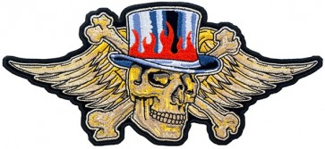 Winged Skull With Flaming Top Hat Patch, Skull Patches