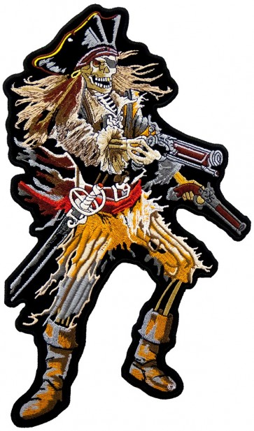 Wild Killer Pirate With Guns & Sword Patch, Pirate Back Patches