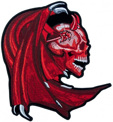 Winged Red Devil Skull Patch, Biker Back Patches