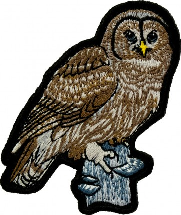 Brown Owl On A Branch Patch, Owl & Bird Patches