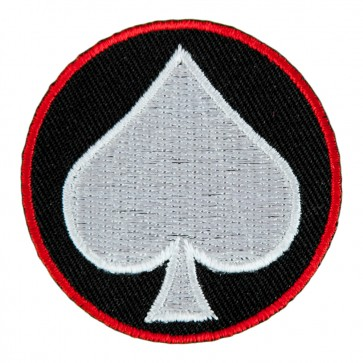 White Spade Symbol On Round Embroidered Patch