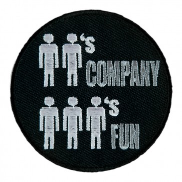 Two's Company Three's Fun Stick Figure Sew On Patch