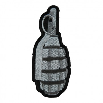 Silver Hand Grenade & Pin Embroidered Patch