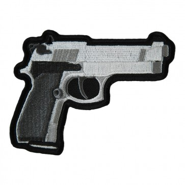 Handgun Dark Grey Grips Right Facing Embroidered Patch