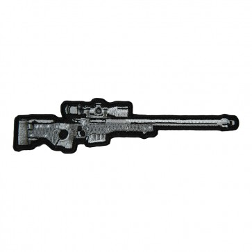 Silver & Light Grey Rifle With Scope Embroidered Patch