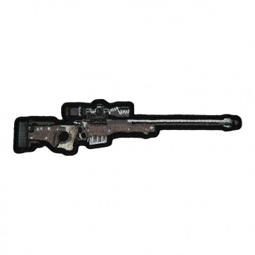 Silver & Brown Rifle With Scope Embroidered Patch