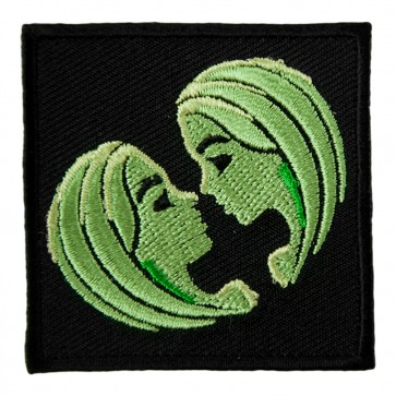 Zodiac Gemini Green Twin Faces Embroidered Patch