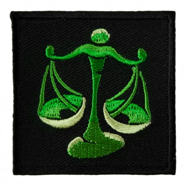 Zodiac Libra Green Balancing Scales Embroidered Patch