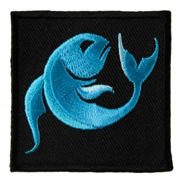 Zodiac Pisces Blue Fish Embroidered Patch