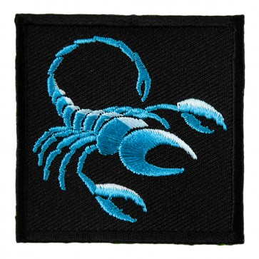 Zodiac Scorpio Blue Scorpion Arachnid Embroidered Patch