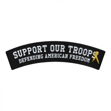 Embroidered Support Our Troops Ribbon Rocker Patch