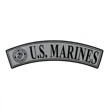Embroidered U.S. Marines Reflective Iron On Rocker Patch
