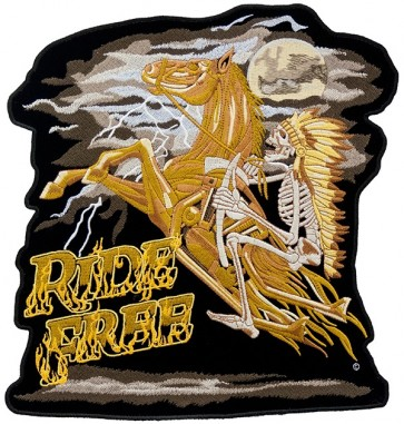 Ride Free Indian & Horse Patch, Biker Back Patches