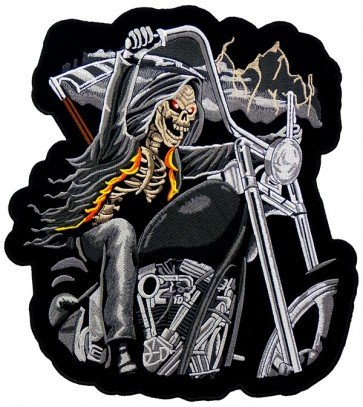 Grim Reaper On A Motorcycle Patch, Biker Back Patches