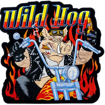 Wild Hog Biker & Flames Patch, Biker Back Patches