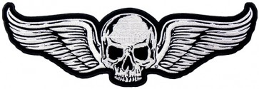 White Skull With Wings Patch, Skull Back Patches