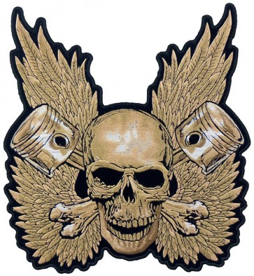 Skull & Pistons With Wings Patch, Skull Back Patches