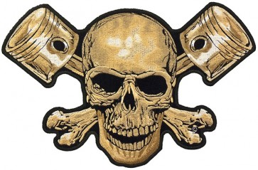 Tan Skull & Pistons Patch, Skull Back Patches