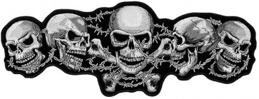 Skulls Crossbones & Barbed Wire Patch, Skull Back Patches
