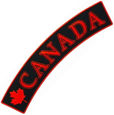 Canada Flag Black Rocker Patch, Canadian Patches