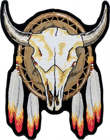 Steer Skull Dream Catcher Patch, Native American Patches