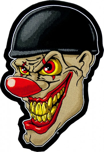 Crazy Face Clown Biker Patch, Large Back Patches