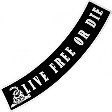 Live Free Or Die Black Bottom Rocker, Gadsden Rocker Patches
