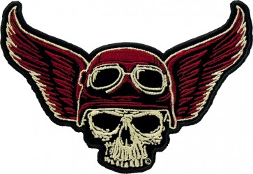 Winged Biker Skull and Riding Goggles Patch