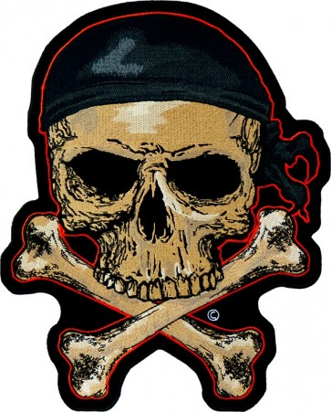 Etched Skull & Crossbones With Red Patch, Back Patches