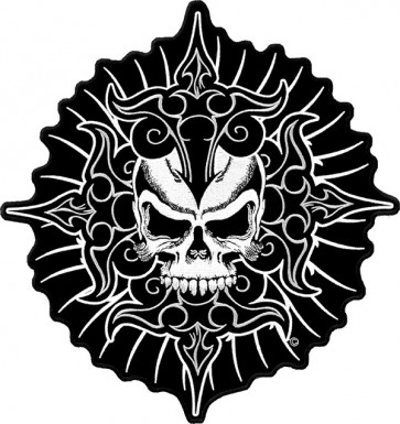 4 Point Tribal Dagger Skull Patch, Large Back Patches