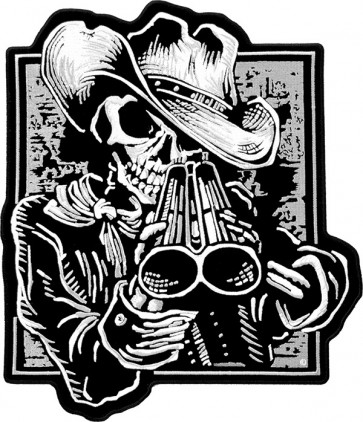 Double Barrel Shotgun Cowboy Patch, Large Back Patches