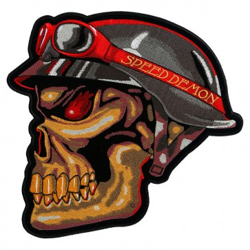 Speed Demon Biker Skull & Red Goggles Patch