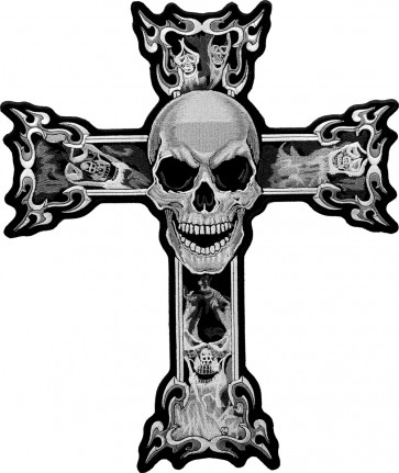 Grey Smoking Skulls Cross Back Patch