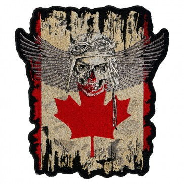 Distressed Canadian Flag Winged Skull Patch