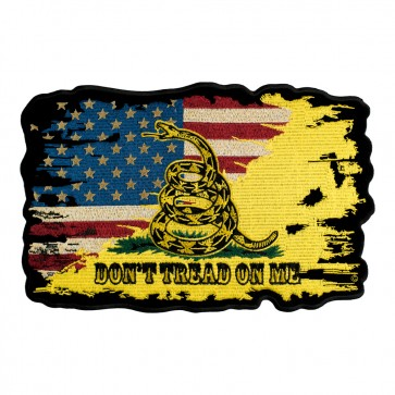 Iron On Distressed American Gadsden Flag Crossover Patch