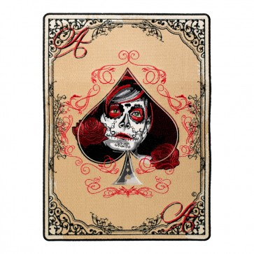 LG Embroidered Ace Of Spades Day Of The Dead Girl Patch