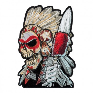 Native American Indian Skull Warrior & Headdress Patch