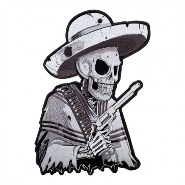 Sew On Subdued Mexican Gunslinger Skull Patch