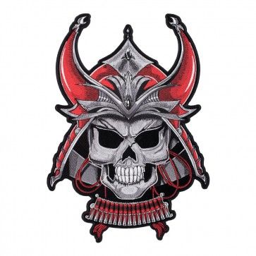 Red Demon Samurai Bushido Skull Embroidered Patch For Sale