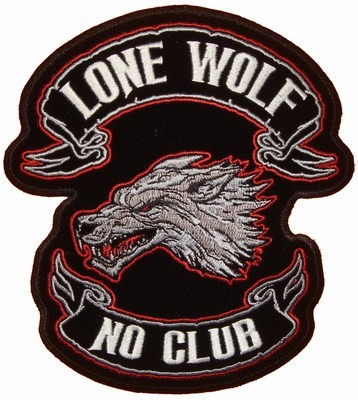 Lone Wolf No Club Black Red Patch Biker Back Patches