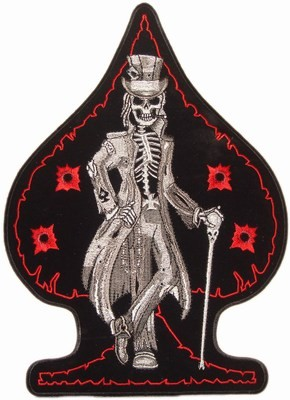 Top Hat Skeleton Bullet Holes Spade Patch, Biker Patches