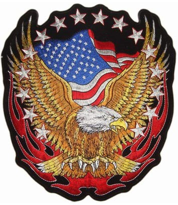 Embroidered US Flag Upwing Eagle & Stars Sew On & Iron On Patch