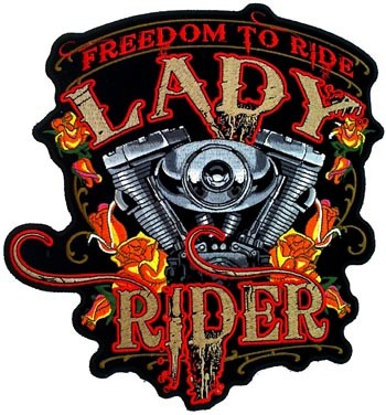 Freedom To Ride Lady Rider Patch, Women's Back Patches