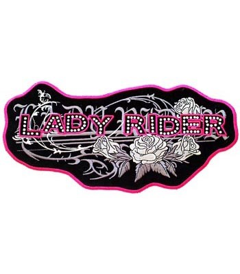 Pink Lady Rider Rhinestones Patch, Women's Biker Patches