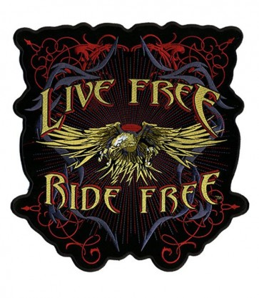 Golden Eagle & Red Live Free Patch, Eagle Biker Patches