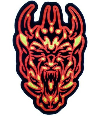 Red & Yellow Tribal Demon Skull Patch, Skull Back Patches