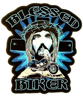 Blessed Biker Jesus Patch, Christian Biker Patches