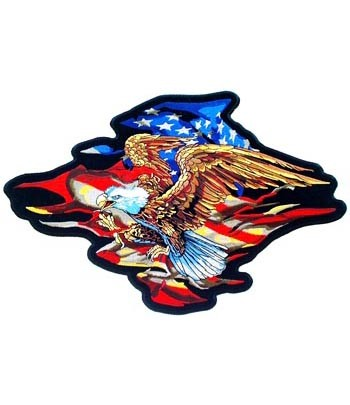 Embroidered Patriotic American Eagle & Torn US Flag Patch