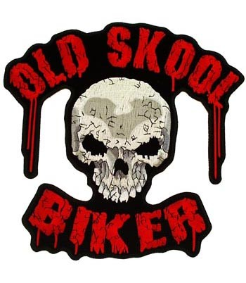 Old Skool Bloody Biker Skull Patch, Biker Back Patches